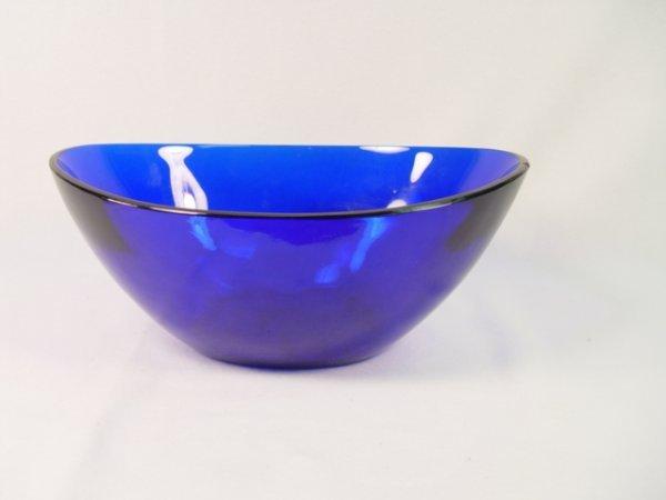 1001: Cobalt Blue Peking Glass Oval Bowl.