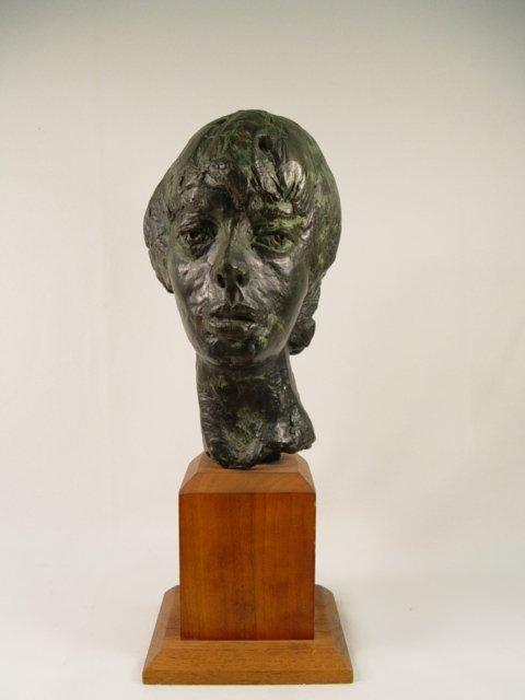 1003: Signed Talkington Bronze Head of Woman.