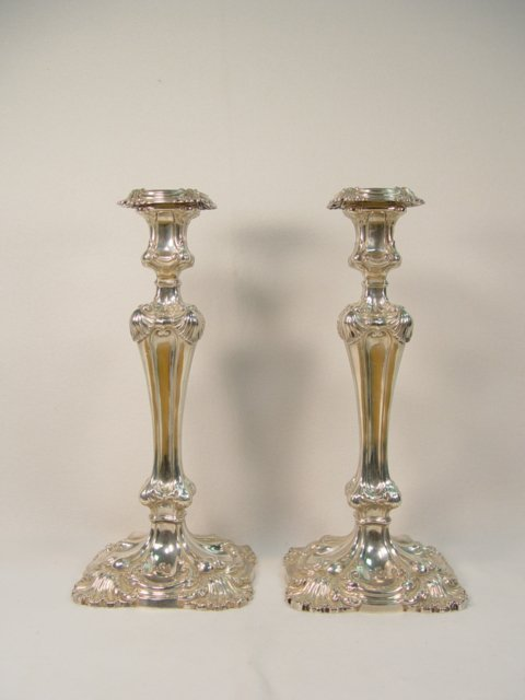1007: Pair of Martin Hale & Co. Sterling Silver Candles