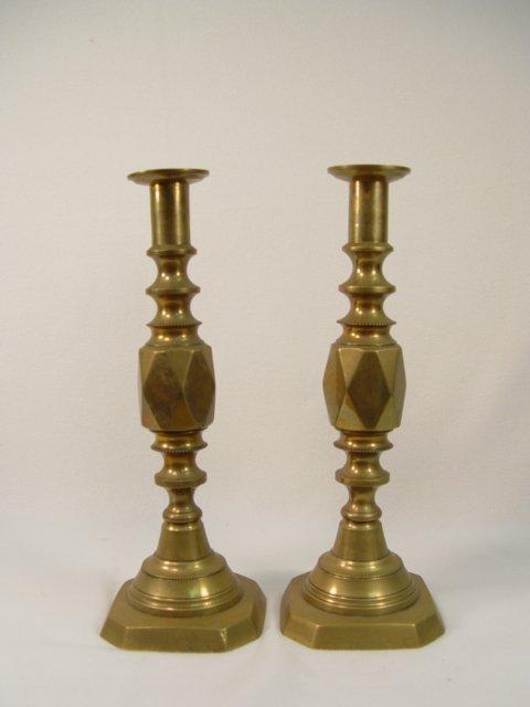 1008: Pair of Diamond Prince Pushup Candlesticks C1800s