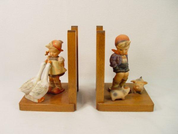 1014: Hummel #60 A&B Farm Boy & Goose Girl Bookends.