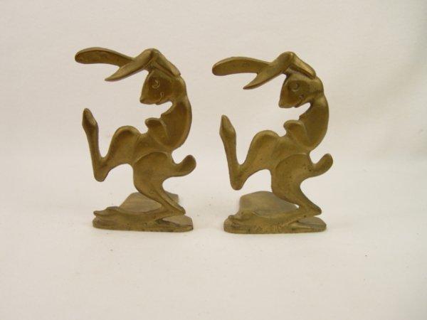 1018: Pair of Antique Bronze Rabbit Bookends.