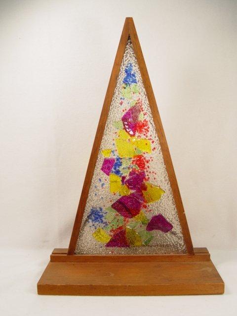 1019: Triangular Stained Glass Nightlight C1950s.