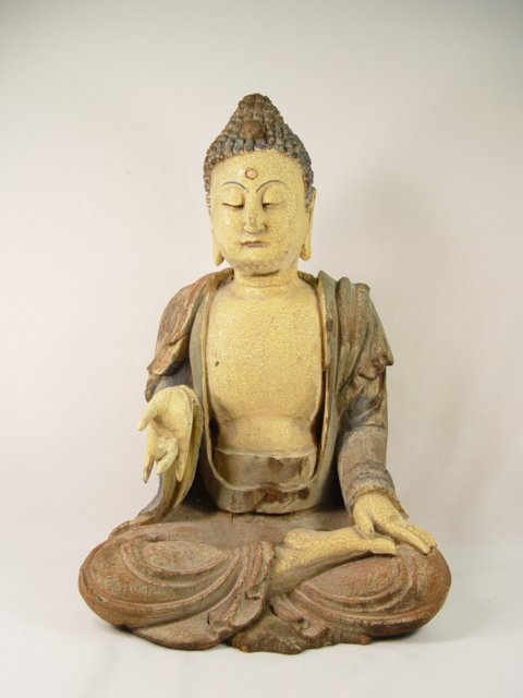 1020: Carved Wooden Buddhist Saint, Early 1900s. 20