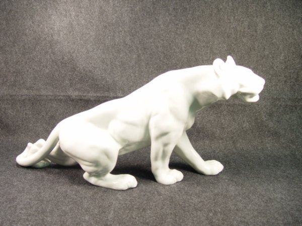 1022: Large Royal Dux Porcelain White Tiger.