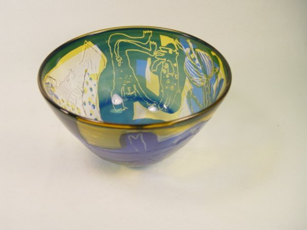 1057: Signed Erotic Art Glass Bowl with Nudes.[1971].