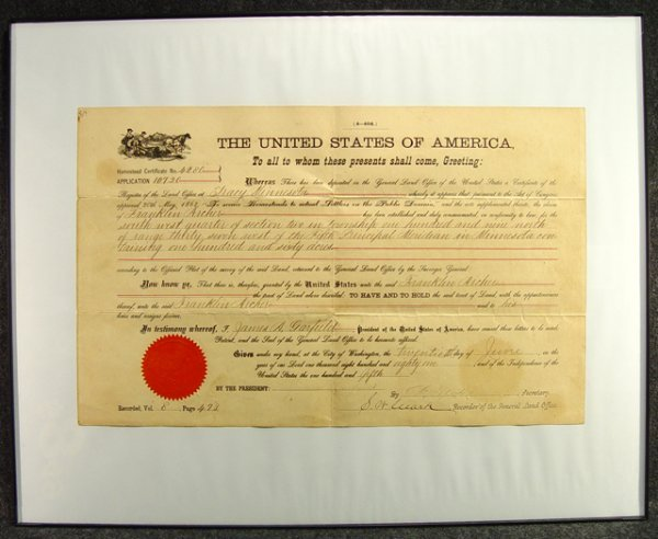 1141: Homestead Certificate signed by President James A
