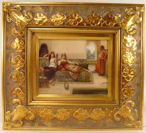 2: Painting on Porcelain Plaque of Young Women. [ 10 x