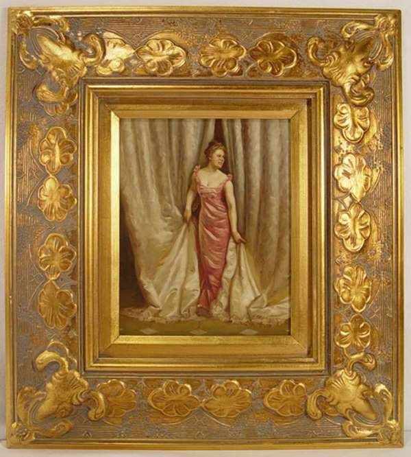 3: Painting on Porcelain Plaque of Lady in Pink. Signed