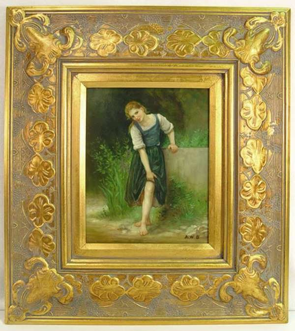 4: Painting on Porcelain Plaque of Barefoot Girl in Blu
