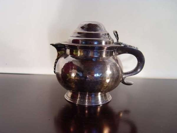 6: English Sterling Silver Pitcer with a 1787 Coin. Jud