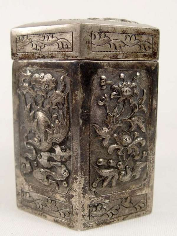 11: Ornate Oriental Design Silverplate Hexagon Box.