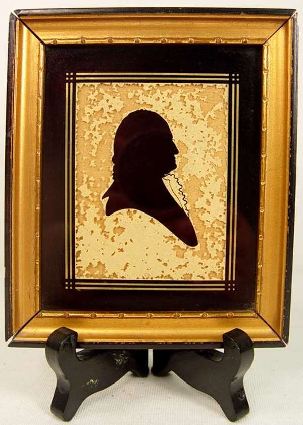 16: Framed Reverse Painted Silhouette of George Washing
