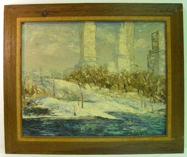 22: Original Oil on Canvas City View Landscape signed R