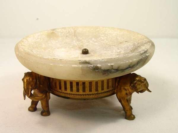 23: Antique German Spelter Elephant & Marble Centerpiec