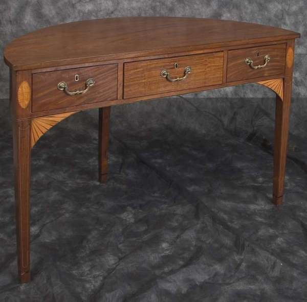 303: Sheraton Design Inlaid Demi-Lune 3 Drawer Table c1