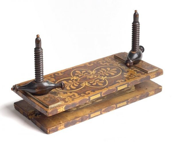4: European Card Press with Cards Early 1800s