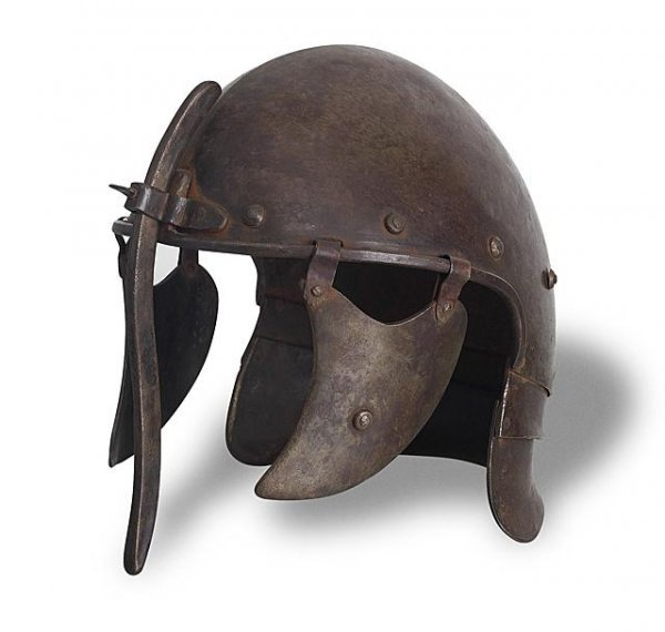 7: English or French 17th Cent. Lobster-Tail Helmet.