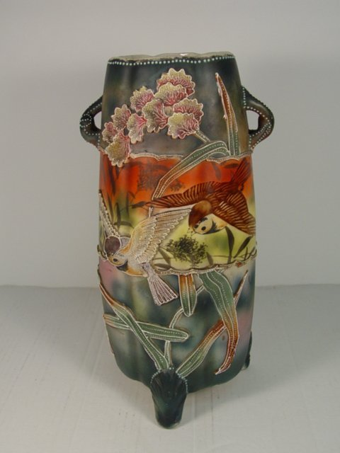 15: Beautiful  Nippon Moriage Vase Late 1800s