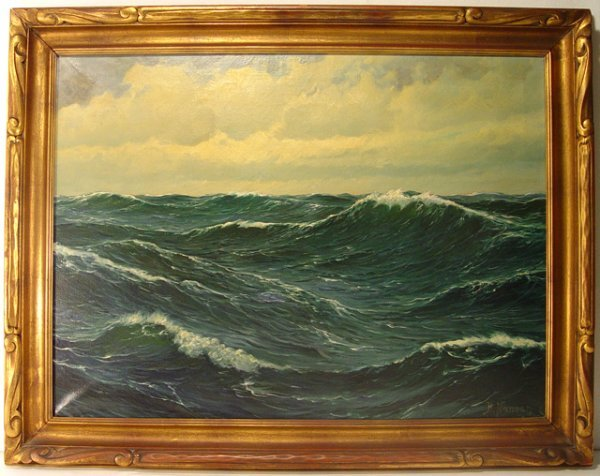 58: Oil on Canvas Painting of Ocean, signed H. Nansen.