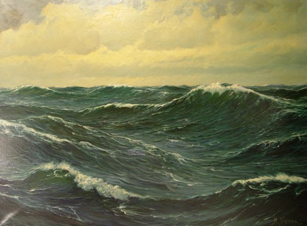 58: Oil on Canvas Painting of Ocean, signed H. Nansen. - 2