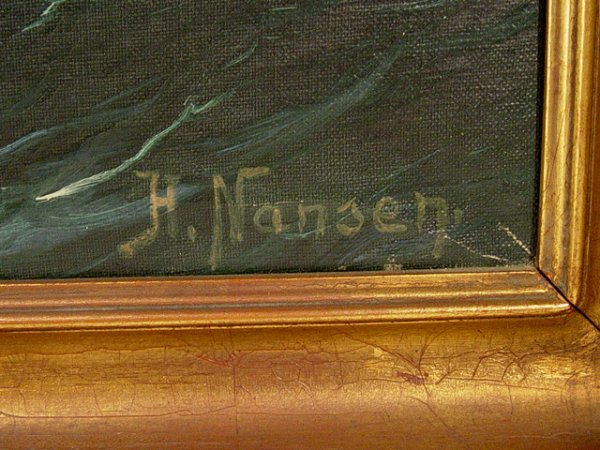 58: Oil on Canvas Painting of Ocean, signed H. Nansen. - 3