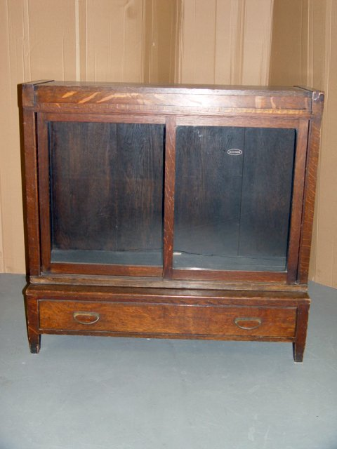113: Danner 3pc. Oak Bookcase with Drawer Base.C1920s