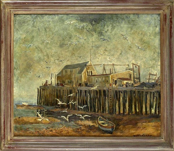 1006: Coastal View. Oil on canvas. C1960s. Signed Sebas