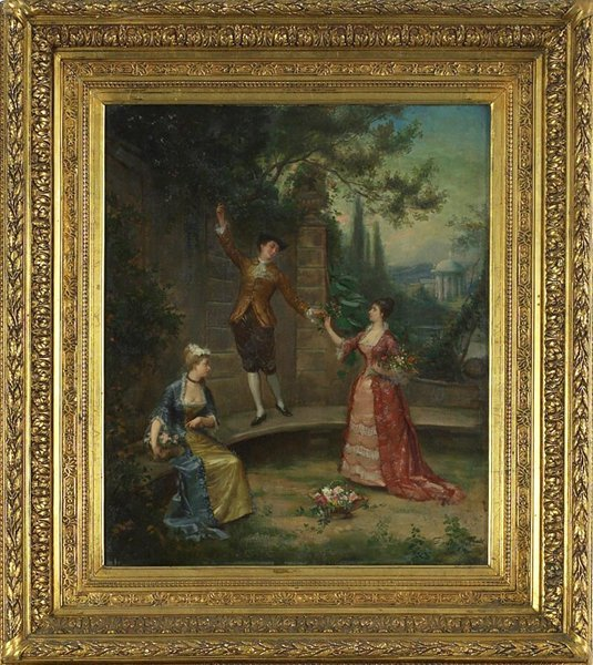 1007: 19 C. Signed Oil on Canvas of Palace Garden.