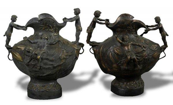 1008: Pair of Art Nouveau Decorative Bronze Vases.