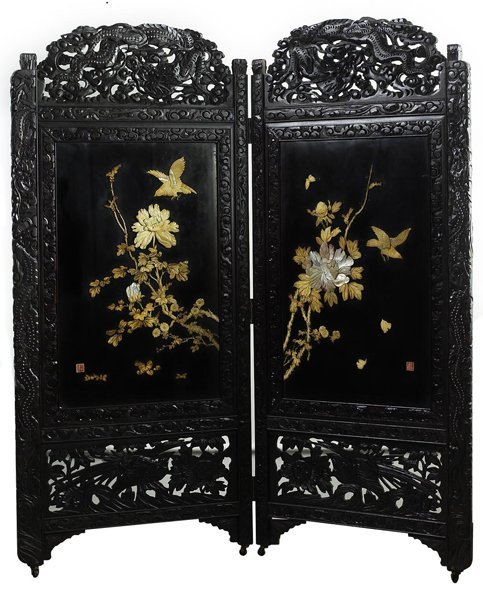 1009: 19th C.Two Leaf Japanese Screen.