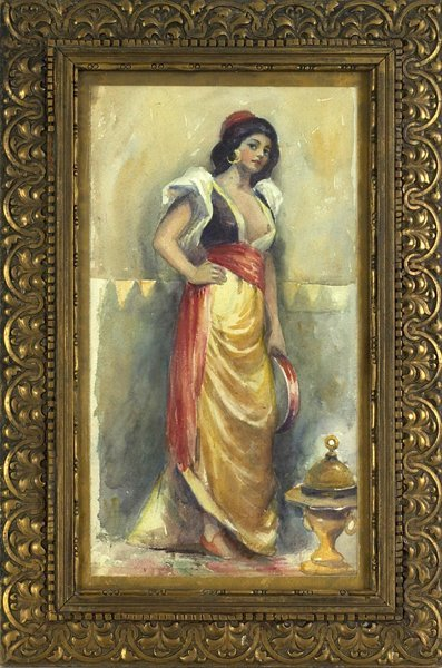 1010: 19th.C. Watercolor of Spanish Woman.