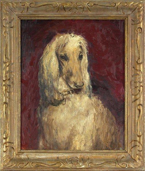 1011: Original Oil on Board Dog Portrait signed G.Woodr