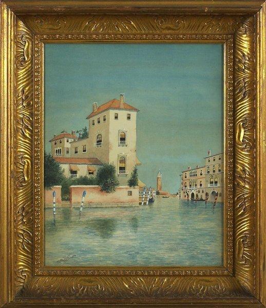 1012: Original Venice View Gauche Painting Signed.