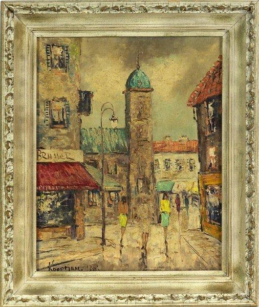 1013: Pair of Paris View Oil on Canvas Paintings. 1950'