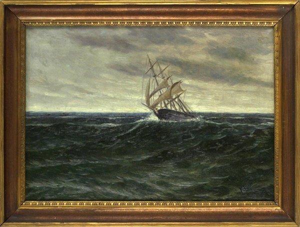 1014: Original Oil on Canvas of Ship at Sea. Signed Klu
