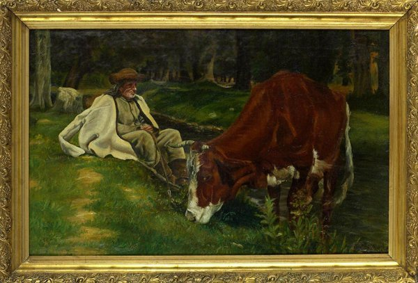 1015: 19th C. Oil Painting by Trotter[1827-1898].