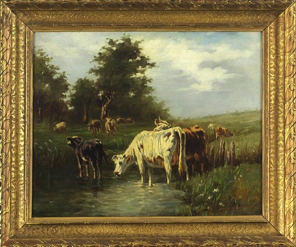 1016: Original Signed Oil on Canvas Landscape with Cows