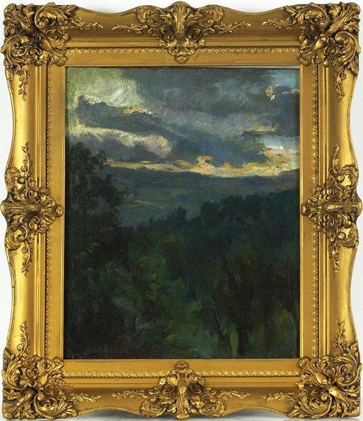 1017: 19th C. Original Oil on Canvas Landscape. Signed.