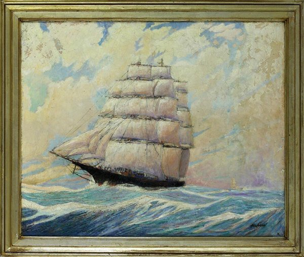 1024: Original Oil on Canvas of Ship at Sea. Signed Tod