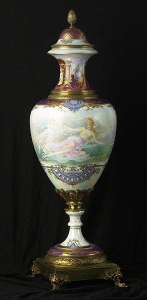 1054: Large Painted & Signed Sevres Ornamental Vase.