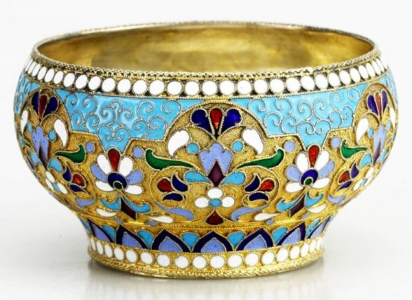 1: Russian Gilded Silver and Shaded  Enamel Bowl, Circa