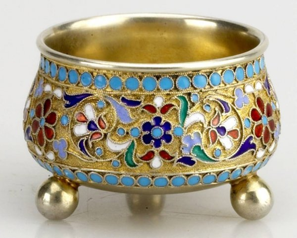 2: Russian Gilded Silver and Shaded  Enamel Salt Cellar