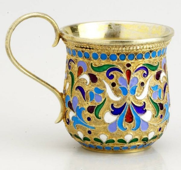 3: A Russian Gilded Silver and Shaded  Enamel  Tea Cup,