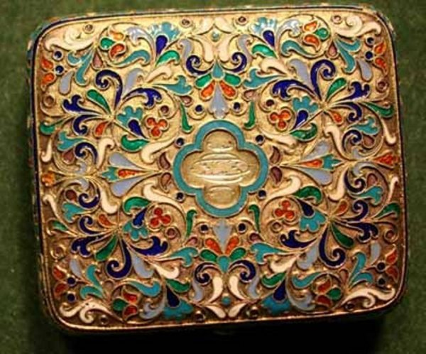 5: Russian Gilded Silver and Cloisonne Enamel Box.