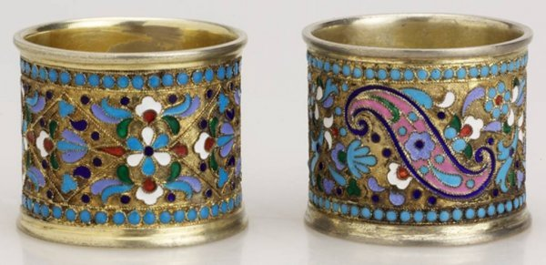 7: A Pair Of Russian Gilded Silver and Enameled Napkin