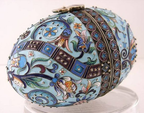 18: A Russian gilded silver and enamel egg, Moscow.