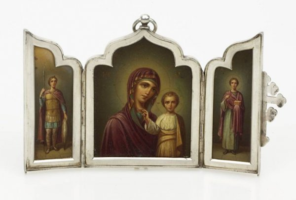 19: A Russian Silver Icon Triptych, 7th Artel, Moscow,