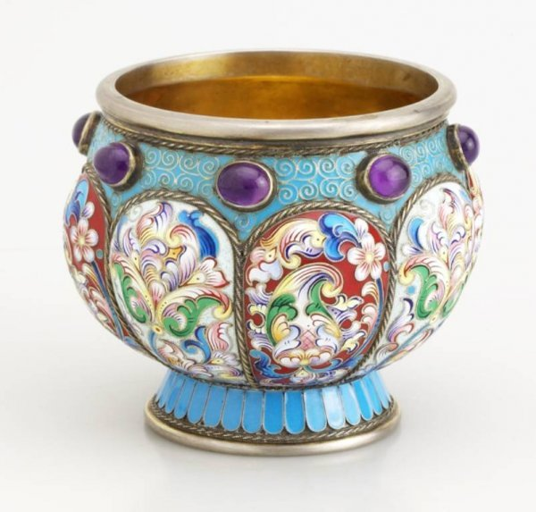 21: Russian Gilded Silver and Shaded  Enamel Bowl.