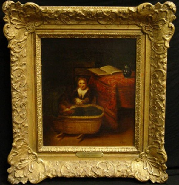 224: Painting of Woman with Baby,Signed J. Rell.Late 17